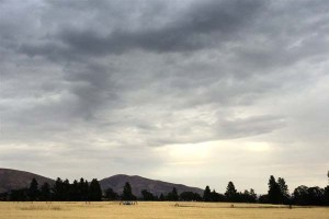 Storm clouds over our barley fields.