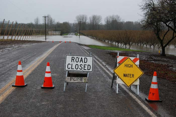 Wigrich Road was covered in water in several places, so we closed off the entire section.