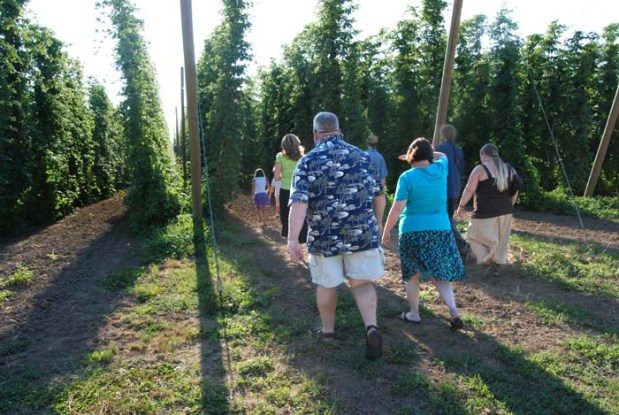 A tour of Rogue Farms begins in the hopyard.