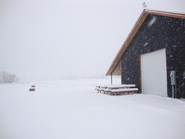Our Farmstead Malt House at Rogue Farms in Tygh Valley under a thick blanket of snow.