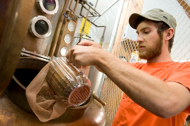 At Rogue Spirits, we pour freshly roasted hazelnuts into a bag and place it in the still.