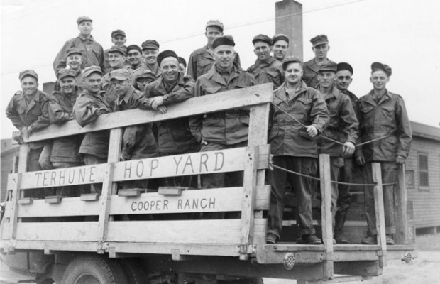 Soldiers from Camp Adair arrive to pick hops at the Terhune Hop Yard.