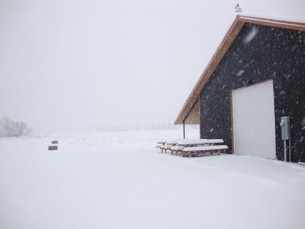 Falling snow outside our Farmstead Malt House.